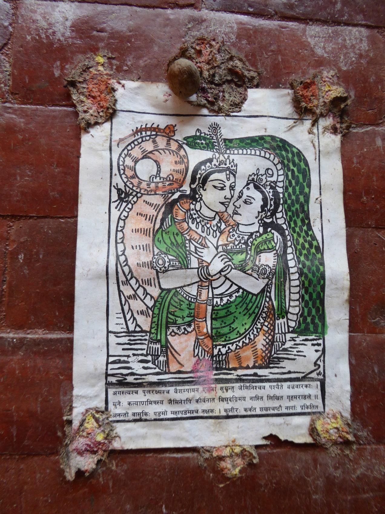Hindu religious poster by Rupert Wolfe Murray in Kathmandu